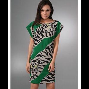 Diane Von Furstenberg Asher Green Tiger PrintDress